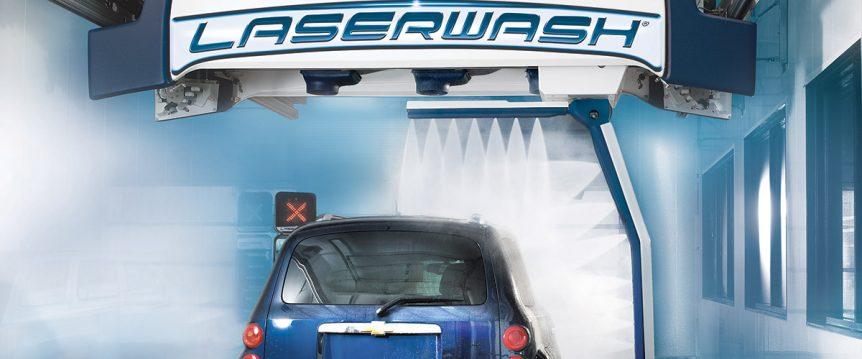 blue car in laserwash tunnel